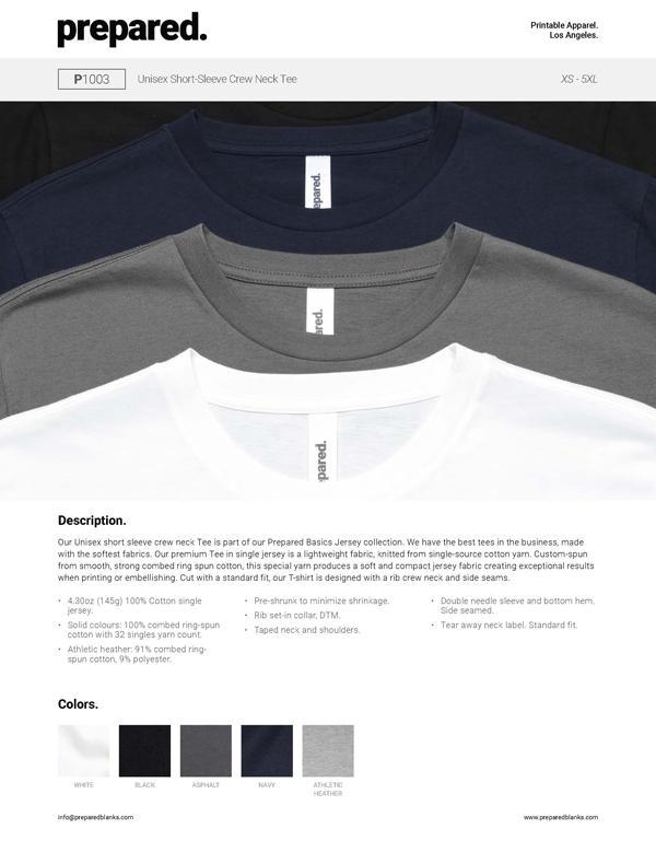Unisex Short-Sleeve Crew Neck Tee | P1003