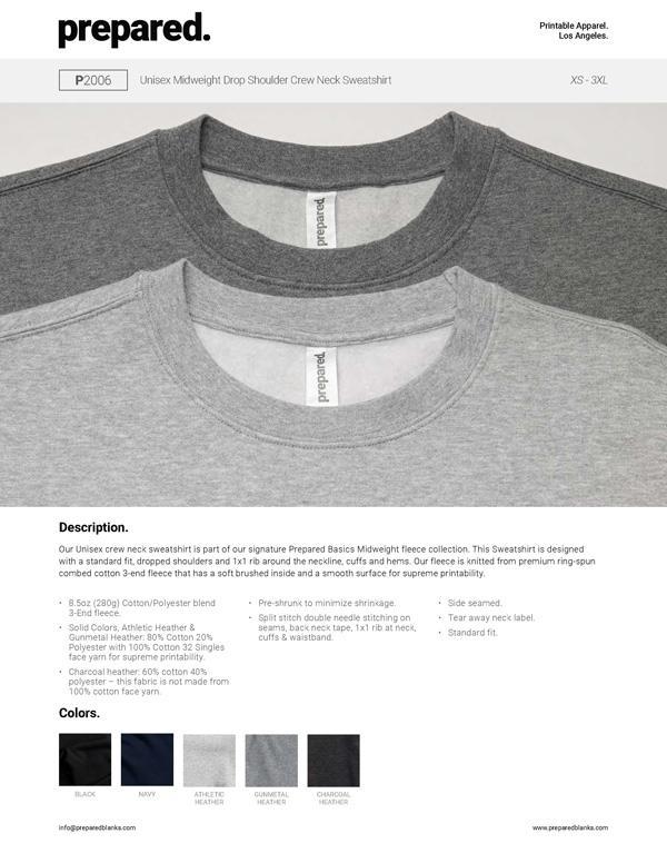 Unisex Midweight Drop Shoulder Crew Neck Sweatshirt | P2006