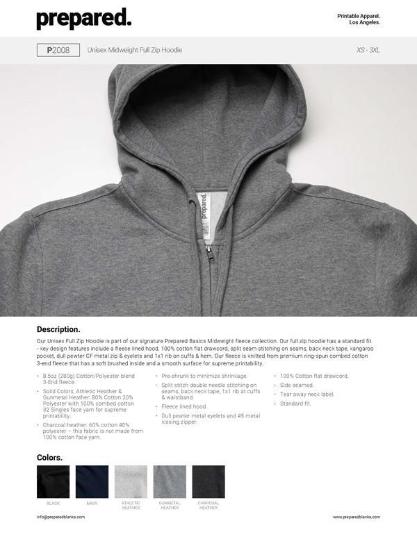 Unisex Midweight Full Zip Hoodie | P2008